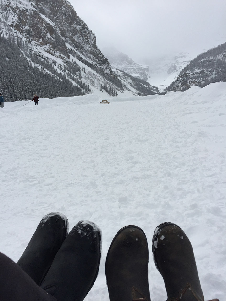 At the Lake Louise featuring the feet of my wife's and mine