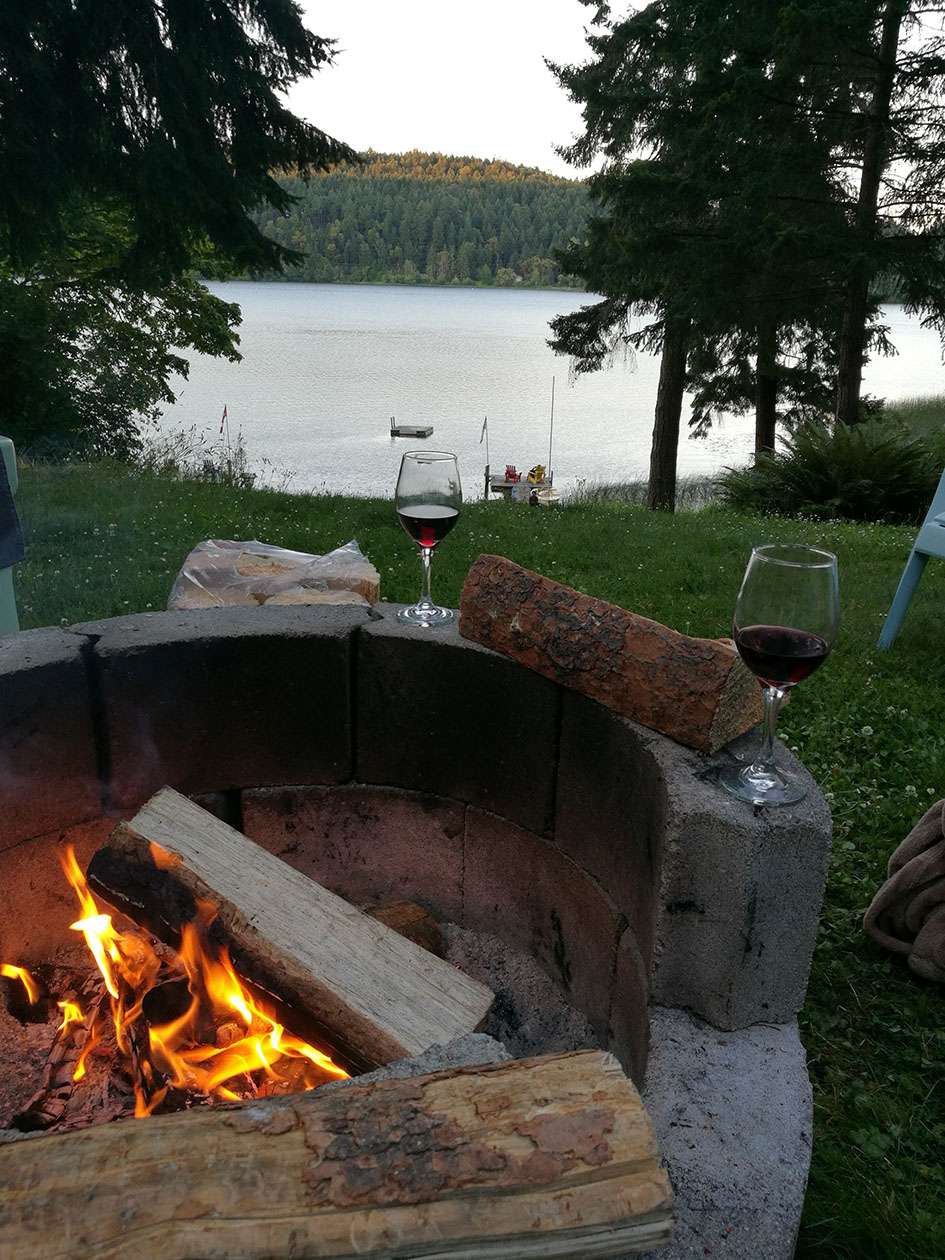 Campfire with drinks