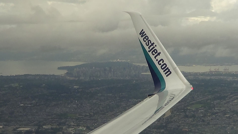 View of Vancouver from Westjet Flight